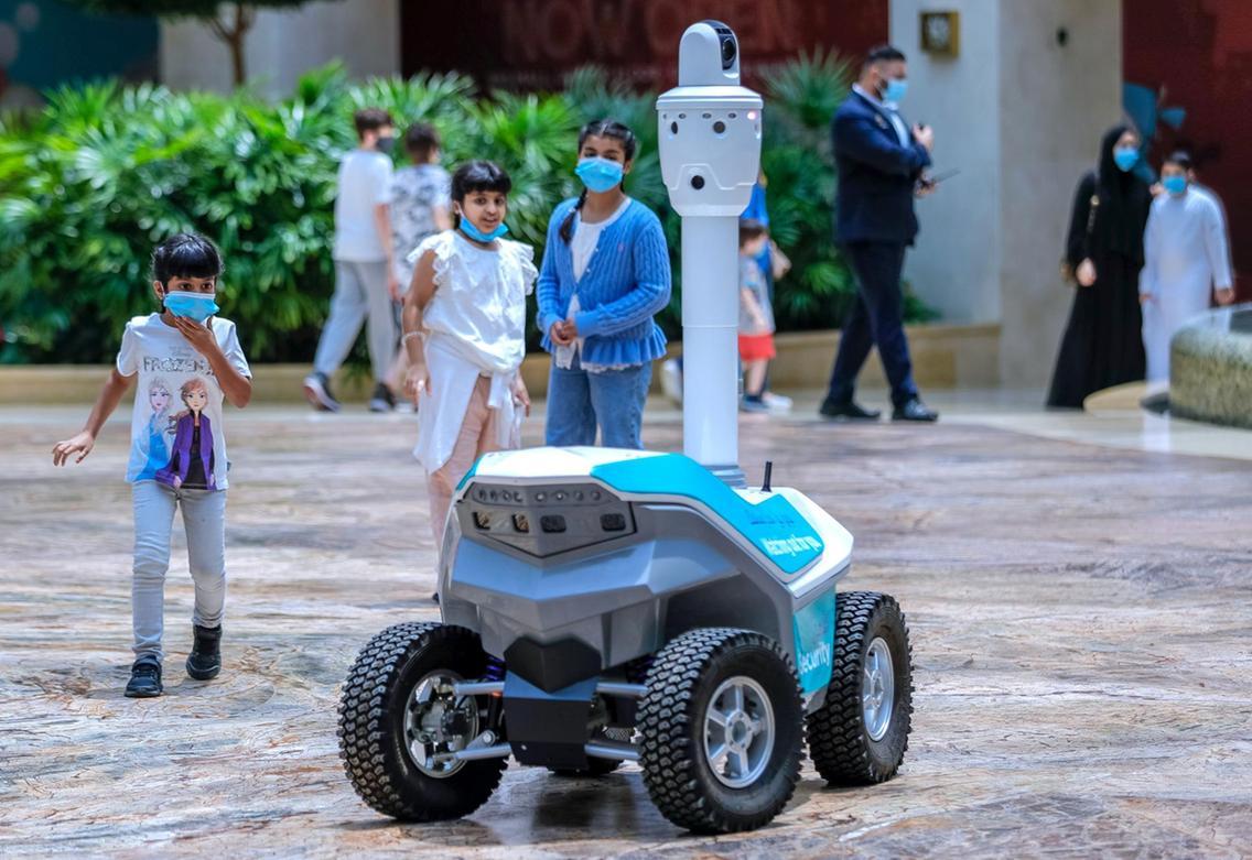 Coronavirus: On patrol with Yas Mall's robot security guards