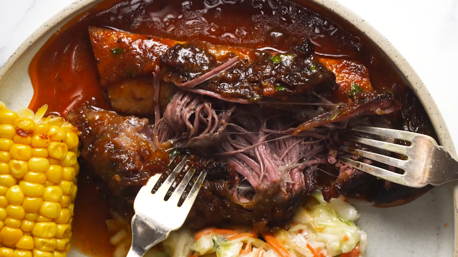 Beef Ribs in BBQ Sauce – slow cooked short ribs!